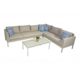 Hanover texteline sofagruppe med Benidrom sofabord