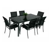 Gladstone spisegruppe sort m 6 stoler