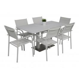 Kragerø bord hvit med 6 Liege