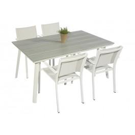 Scano 160 hvit med caribia stol