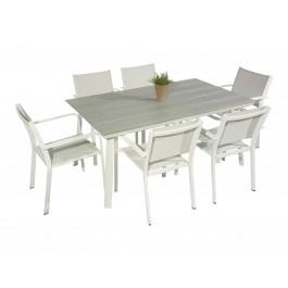 Scano 160 hvit med  6 caribia stol
