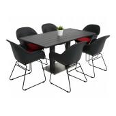 Kragerø bord antrasitt med 6 Tam