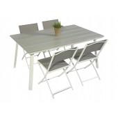 Scano 160 hvit med 4 tasty stoler